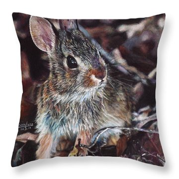 Rabbit In The Woods Throw Pillow