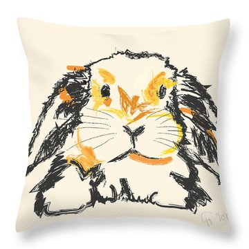 Throw Pillow featuring the painting Rabbit Jon by Go Van Kampen