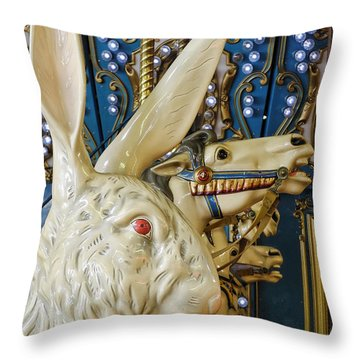 Rabbit On The Carousel Throw Pillow