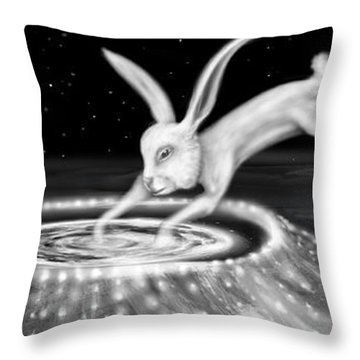 Rabbit On The Moon Throw Pillow by Jerod  Kytah
