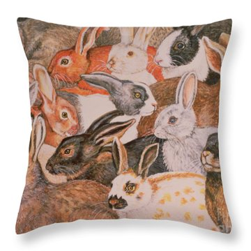 Rabbit Spread Throw Pillow by Ditz
