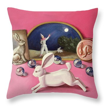 Rabbits And The Moon Wc On Paper Throw Pillow
