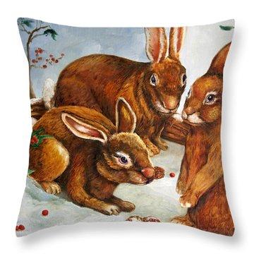 Rabbits In Snow Throw Pillow by Enzie Shahmiri