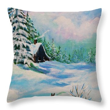 Throw Pillow featuring the painting Rabbits Waiting For Spring by Bob and Nadine Johnston