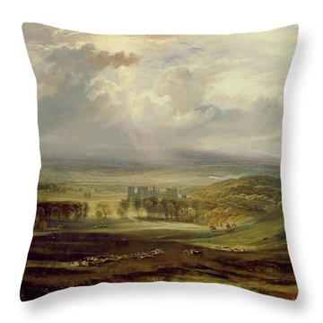 Raby Castle Throw Pillow by Joseph Mallord William Turner