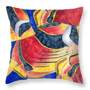 Raccoon Butterflyfish Throw Pillow