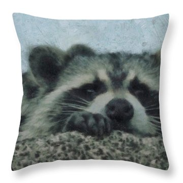 Raccoons Painterly Throw Pillow by Ernie Echols