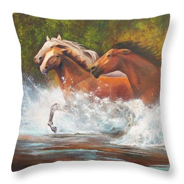 Throw Pillow featuring the painting Race For Freedom Close Up by Karen Kennedy Chatham