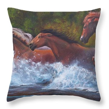 Throw Pillow featuring the painting Race For Freedom by Karen Kennedy Chatham