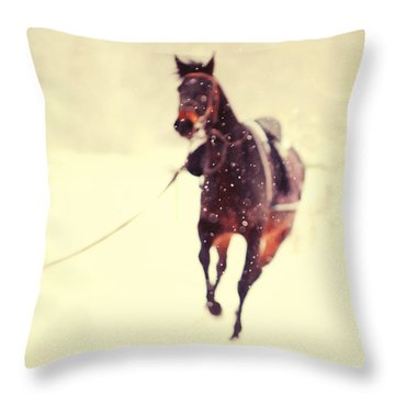 Race In The Snow Throw Pillow by Jenny Rainbow