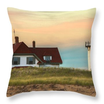 Race Point Light At Sunset Throw Pillow by Brian Caldwell