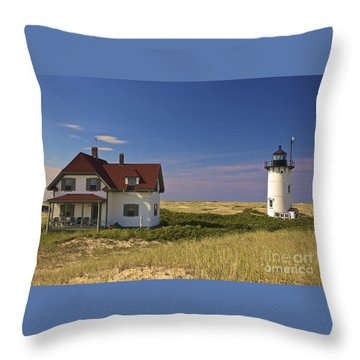 Race Point Lighthouse In Summer Throw Pillow