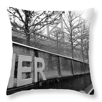 Race Stree Pier Sign Throw Pillow
