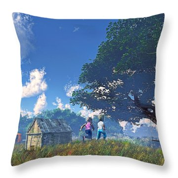Race To The Swing Throw Pillow by Ken Morris