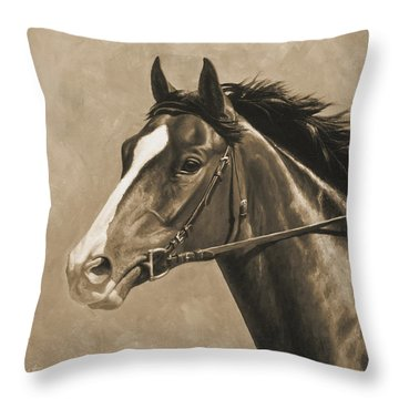 Racehorse Painting In Sepia Throw Pillow