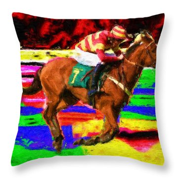 Racehorse Throw Pillow by Ron Harpham