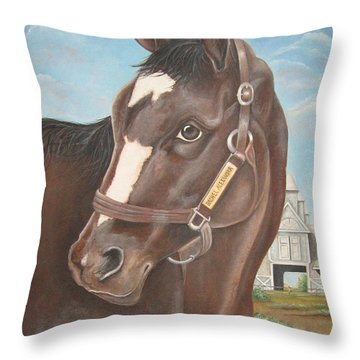 Rachel Alexandra At Stonestreet Farms Throw Pillow by Patrice Torrillo