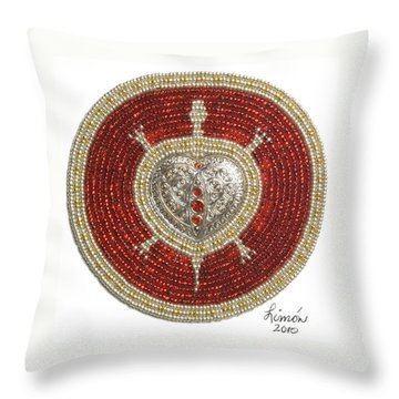 Silver And Gold Heart Turtle Throw Pillow
