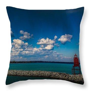 Racine Harbor Lighthouse Throw Pillow by Randy Scherkenbach