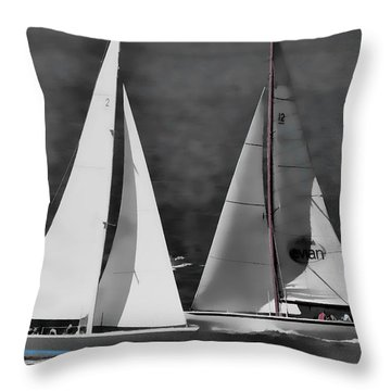 Racing At Sea Throw Pillow by Pamela Blizzard
