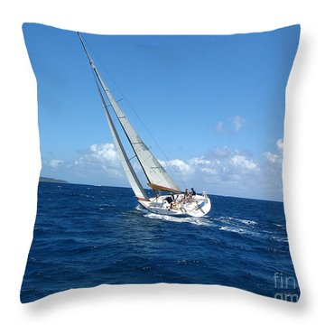 Racing At St. Thomas 2 Throw Pillow