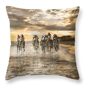 Racing Down The Stretch Throw Pillow by Betsy Knapp
