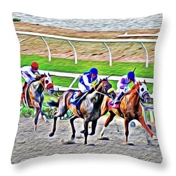Throw Pillow featuring the photograph Racing Horses by Christine Till