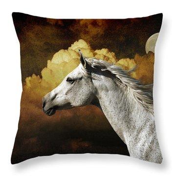 Racing The Moon Throw Pillow by Karen Slagle