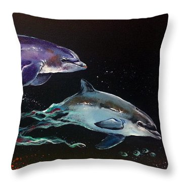 Racing The Waves Throw Pillow by Marco Antonio Aguilar