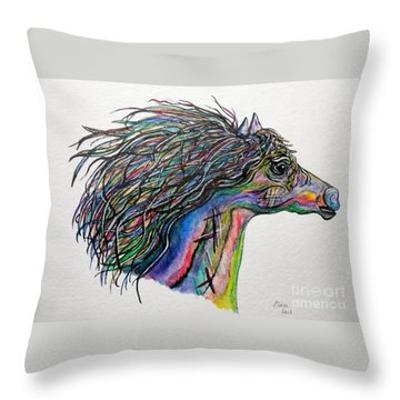 Racing The Wind ... A Story Painting Throw Pillow by Eloise Schneider