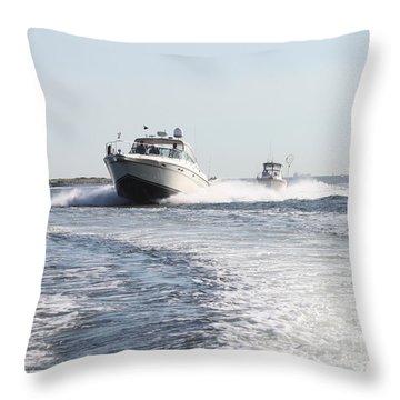 Racing To The Docks Throw Pillow