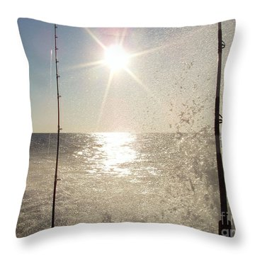 Racing To The Fishing Grounds Throw Pillow by John Telfer