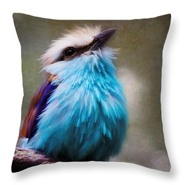 Racket-tailed Roller Throw Pillow