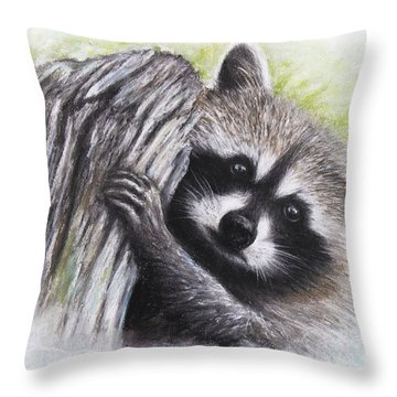 Raccoon  Throw Pillow by Patricia Lintner