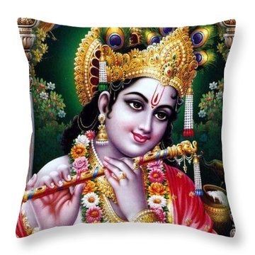 Radha Krishna Idol Hinduism Religion Religious Spiritual Yoga Meditation Deco Navinjoshi  Rights Man Throw Pillow