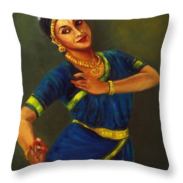 Radha Playing Krishna Throw Pillow