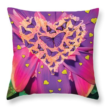 Radiant Butterfly Heart Throw Pillow by Alixandra Mullins