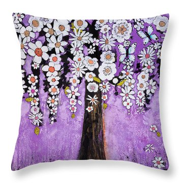 Radiant Orchid Flower Tree Throw Pillow by Blenda Studio