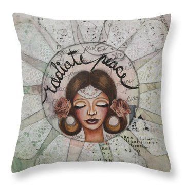 Radiate Peace Inspirational Mixed Media Folk Art  Throw Pillow