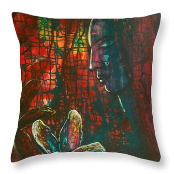 Throw Pillow featuring the painting Radiating Light by Mini Arora