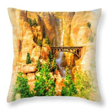 Radiator Springs Waterfall Throw Pillow