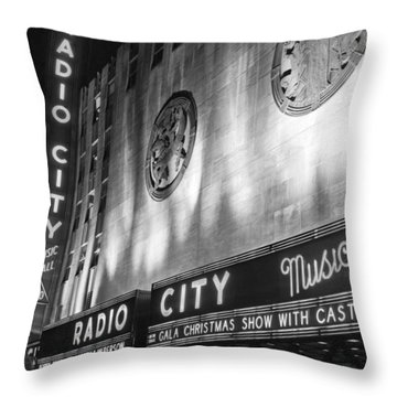 Radio City Music Hall Marquee Throw Pillow by Underwood Archives