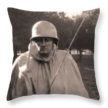 Throw Pillow featuring the photograph Radio Telephone Operator Soldier by Nicola Nobile