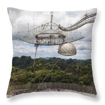 Throw Pillow featuring the photograph Radio Telescope At Arecibo Observatory In Puerto Rico by Bryan Mullennix