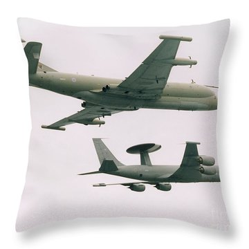 Raf Nimrod And Awac Aircraft Throw Pillow by Paul Fearn