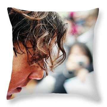 Rafael Nadal From Up Close Throw Pillow by Nishanth Gopinathan