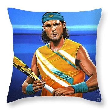 Rafael Nadal Throw Pillow by Paul Meijering
