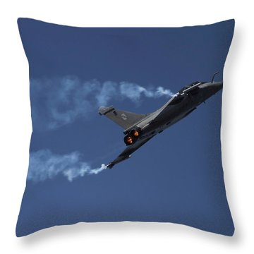 Throw Pillow featuring the photograph Rafale After Burner  by Ramabhadran Thirupattur