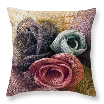 Raffia Roses Macro Throw Pillow