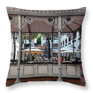 Raffles Hotel Courtyard Bar And Restaurant Singapore Throw Pillow by Imran Ahmed